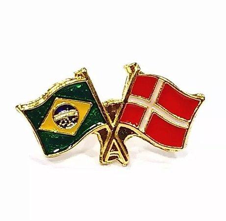 Bótom Pim Broche Bandeira Brasil X Dinamarca Folheado A Ouro