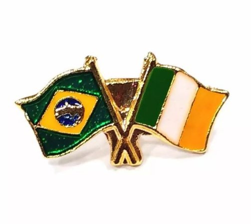 Bótom Pim Broche Bandeira Brasil X Irlanda Folheado A Ouro
