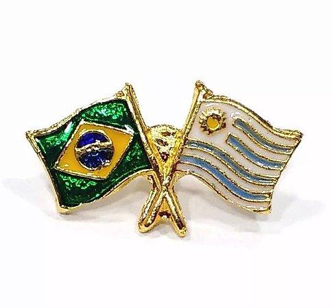 Bótom Pim Broche Bandeira Brasil X Uruguai Folheado A Ouro