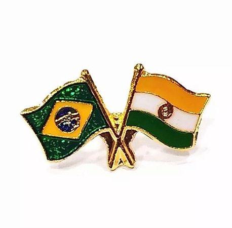 Bótom Pim Broche Bandeira Brasil X Índia Folheado A Ouro
