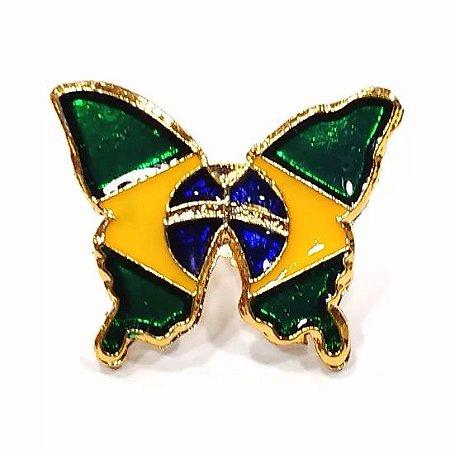 Pim Bótom Broche Borboleta Bandeira Do Brasil 18mm Folheado A Ouro