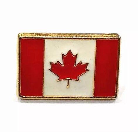 Bótom Pim Broche Bandeira Canadá 13x9mm Folheado A Ouro