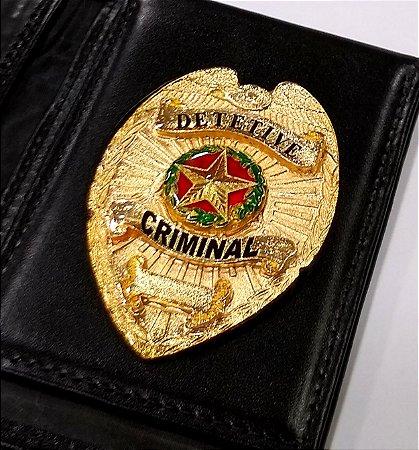 Distintivo Carteira Couro Detetive Criminal Folheado A Ouro Brinde Bótom