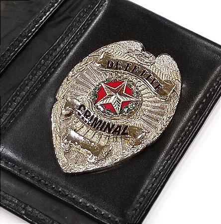 Distintivo Carteira Couro Detetive Criminal Folheado À Prata Brinde Bótom