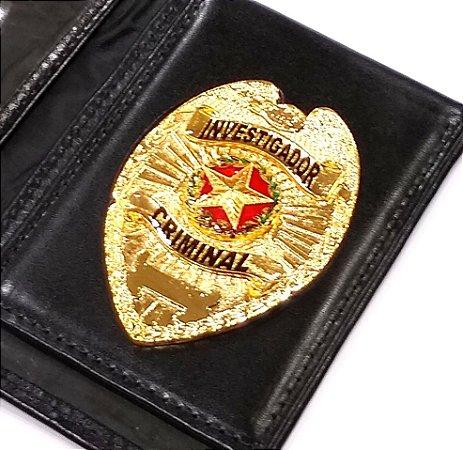 Distintivo Carteira Couro Investigador Criminal Folheado A Ouro Brinde Bótom