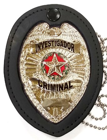 Distintivo Investigador Criminal Couro Folheado À Prata Brinde Bótom