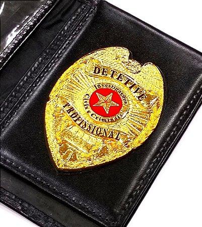 Distintivo Carteira Couro Detetive Profissional Folheado A Ouro Brinde Bótom