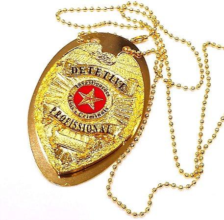 Distintivo Detetive Profissional Folheado A Ouro Brinde Bótom