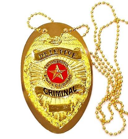 Distintivo Detetive Criminal Folheado A Ouro Brinde Bótom