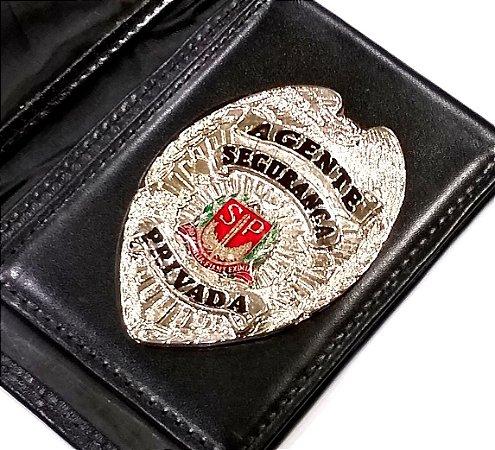 Distintivo Carteira Couro Agente De Segurança Privada São Paulo Folheado À Prata Brinde Bótom