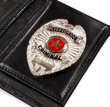 Distintivo Porta Funcional Investigador Criminal Folheado À Prata Brinde Bótom