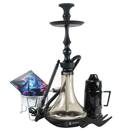 Narguile Magic Mezzo Kit Completo - Preto Vaso Fumê