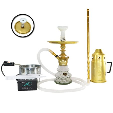 Narguile Kini Colors Sultan Hookah Completo Kit - Dourado