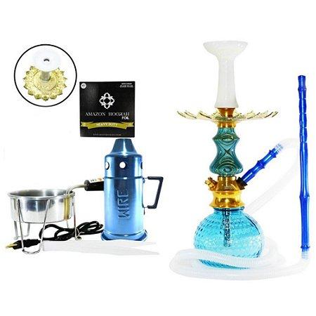 Narguile Kit Amazon Unique Lançamento - Azul/ Azul
