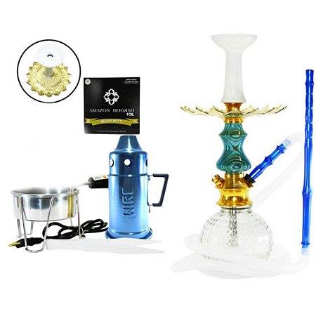 Narguile Kit Amazon Unique Lançamento - Azul/ Clear