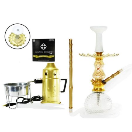 Narguile Kit Amazon Hookah Completo - Dourado/ Stripes