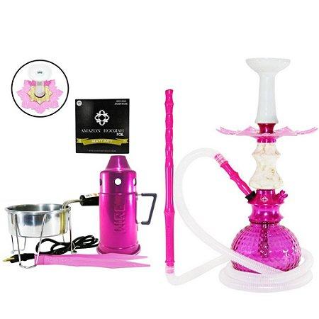 Narguile Kit Amazon Hookah Completo - Rosa/ Prato Rosa