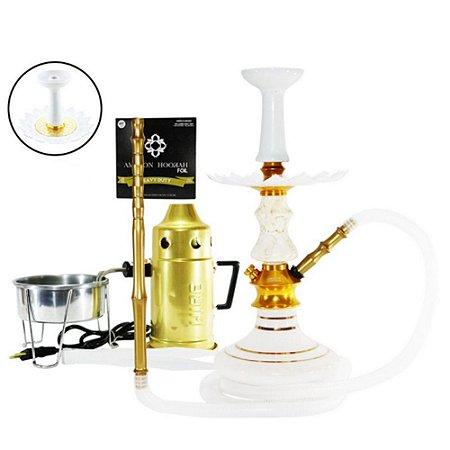 Narguile Amazon Prime Completo Vaso Aladin- Dourado/ Branco