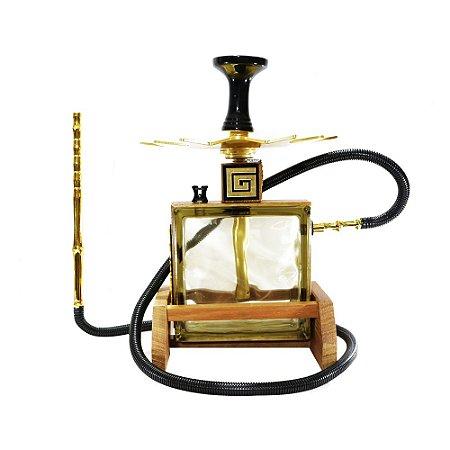 Narguile Completo Pequeno Kubo Hookah - Dourado