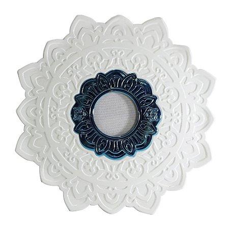 Prato Negro Grande Urso Hookah- Branco com Miolo Azul