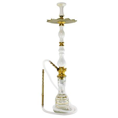 Narguile Amazon Luxury Completo Vaso Sino - Dourado/ Branco