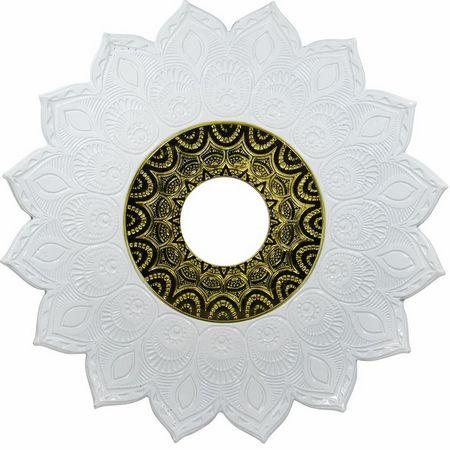 PRATO NARGUILE JN ATHENAS GRANDE -Branco com Dourado