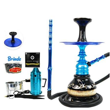 Kit Narguile Completo Amazon Kombat Vaso HT - Azul
