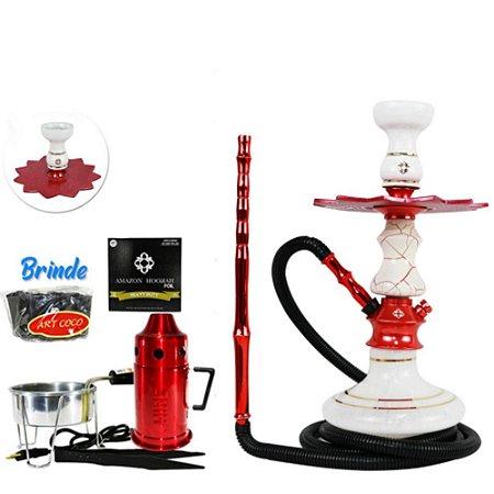 Narguile Amazon Prime Onix Vermelho/Branco Kit - Vaso Aladin