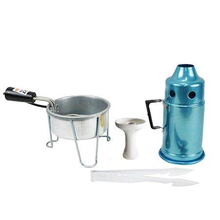 Kit Abafador Azul + Rosh Shisha Glass + Pegador Black Branco+ Acendedor Art Coco