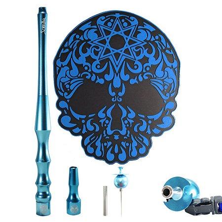 Kit sorrilha Hookah Tapete + Piteira + Piteira Higiênica + Furador - Azul