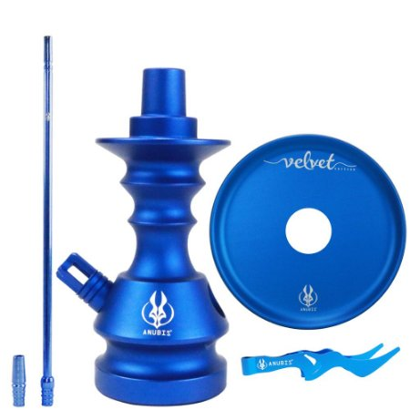 Kit Anubis Hookah Velvet Stem+ Piteira+ Prato+ Pegador Azul Escuro