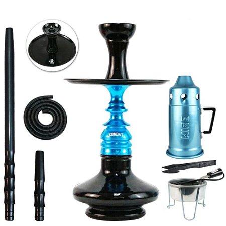 Narguile Kit Amazon  Kombat Completo Vaso Aladin - Azul com Preto