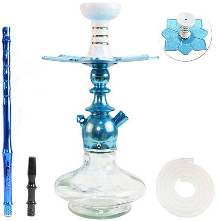 Narguile Sultan Kini Colors Completo Vaso Aladin - Azul