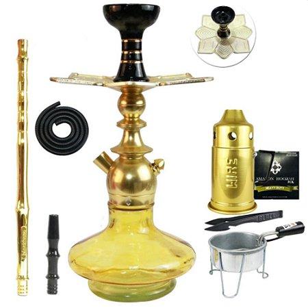 Narguile Kit Kini Colors Completo Vaso Aladin - Dourado
