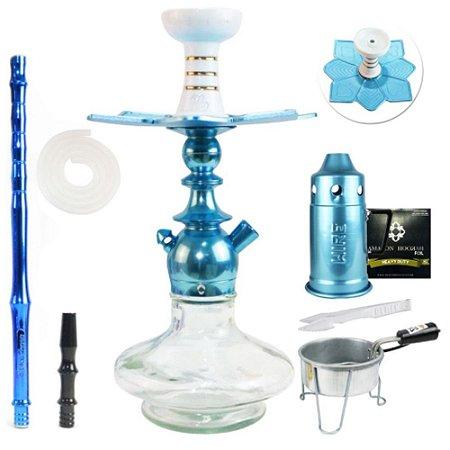 Narguile Kit Kini Colors Completo Vaso Aladin - Azul vaso Clear