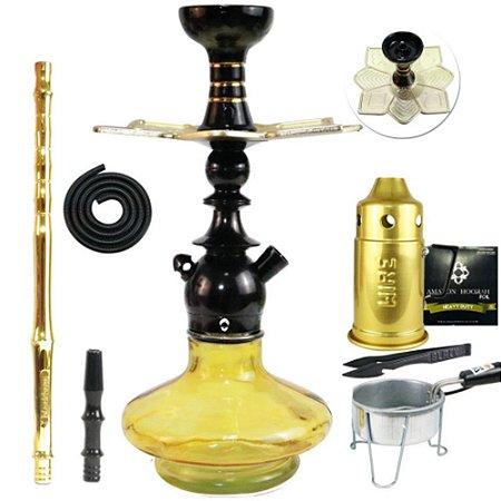 Narguile Kit Kini Colors Completo Vaso Aladin - Preto Vaso Dourado