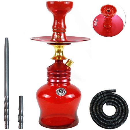 Narguile Magic Hookah Pequeno Completo- Vermelho e Dourado