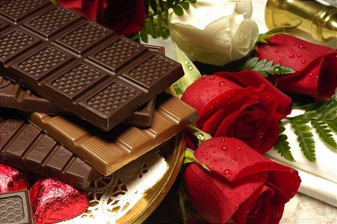 Quadro Decorativo Poster Chocolate e Rosas