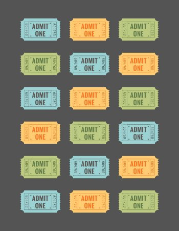 Quadro Decorativo Poster Ticket de Cinema