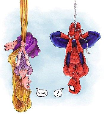 Quadro Decorativo Poster Rapunzel e Homem Aranha