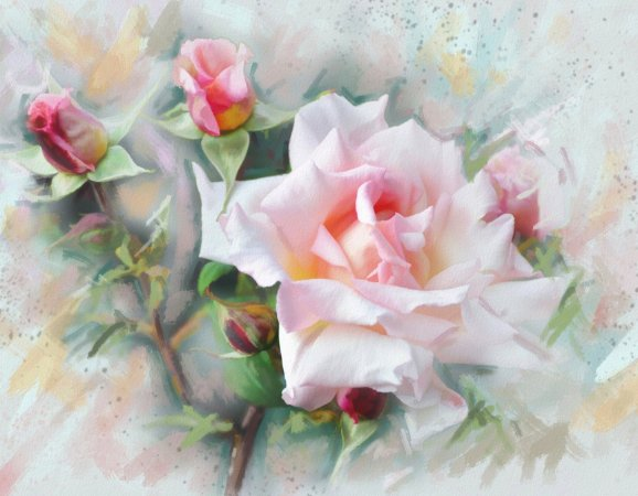 Quadro Decorativo Poster Pintura de Flores Claras