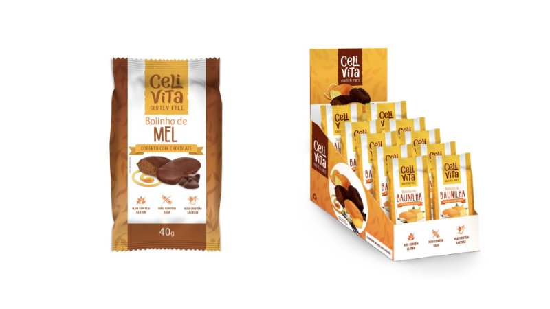 DISPLAY COM 12 BOLINHOS DE MEL COBERTO COM CHOCOLATE 40g