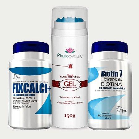 Combo Solução Celulite (Biotin 7 +Fixcalci + Gel Nano Cellution) 3 itens CGQPME9G9