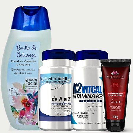 Combo Peles do Brasil (Multivitamins + K2+ Sabonete Facial Banho de Natureza + Máscara Plástica Poros) 4 itens 3K927AY7G