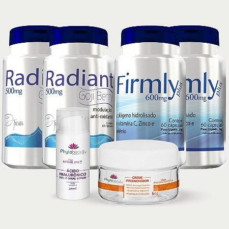 Combo Anti-rugas (2 Radiant + 2 Firmly + Creme Preenchedor + Sérum Ácido Hialurônico) 6 itens B7AVDFL8E