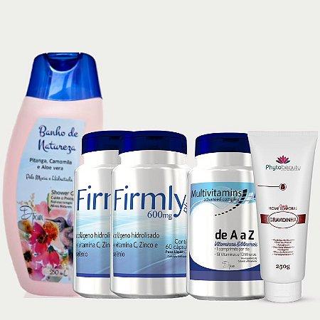 Combo Nutrindo a Gestação (2 Firmly + Multivitamins + Sabonete Shower gel Banho de Natureza + Creme Gravidinha) 5 itens TTEYNTEVQ