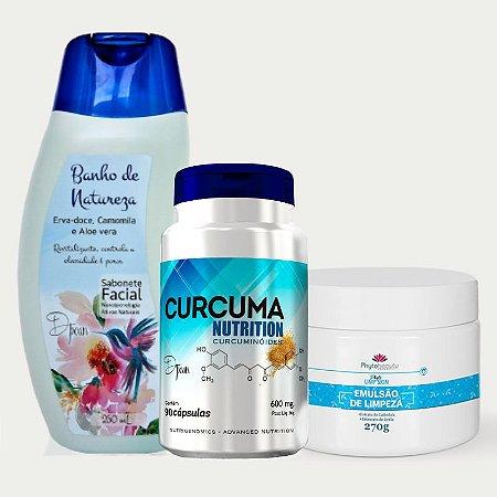 Combo Detox Cosmético (Sabonete Facial Banho de Natureza + Curcuma Nutrition + Emulsão de Limpeza)  3 itens DJT8LMKW8
