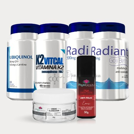 Combo Clareamento ( 2 Radiant + K2 Vitcalci + Ubiquinol + Creme Clareador + Anti Folic) 6 itens 2E6UBD4YD