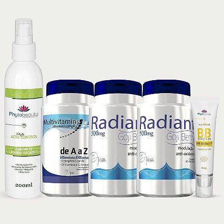 Combo Pele Radiante (Multivitamins + 2 Radiant + BB Cream + Sabonete Líquido Secativo) 5 itens ETX5RRMUB