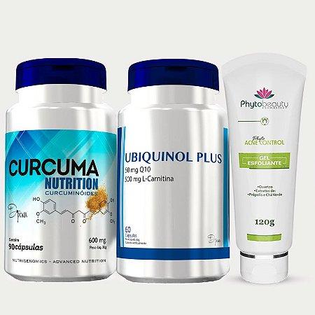 Combo Acne Regenerador (Ubiquinol + Curcuma Nutrition + Gel Esfoliante) 3 itens R6NH4P4J7